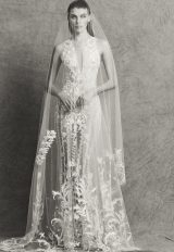 Lace Applique Illusion V-neck Wedding Dress by Zuhair Murad - Image 1