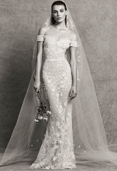 Sweetheart Neck Off-the-Shoulder Sheath Embroidered Wedding Dress by Zuhair Murad