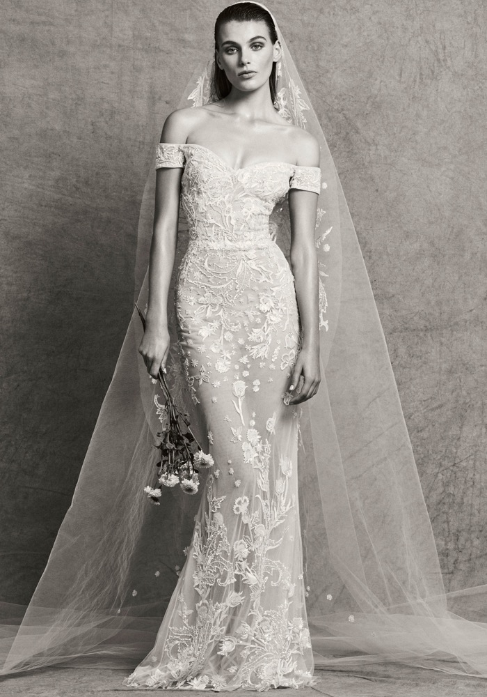 Sweetheart Neck Off-the-Shoulder Sheath Embroidered Wedding Dress ...