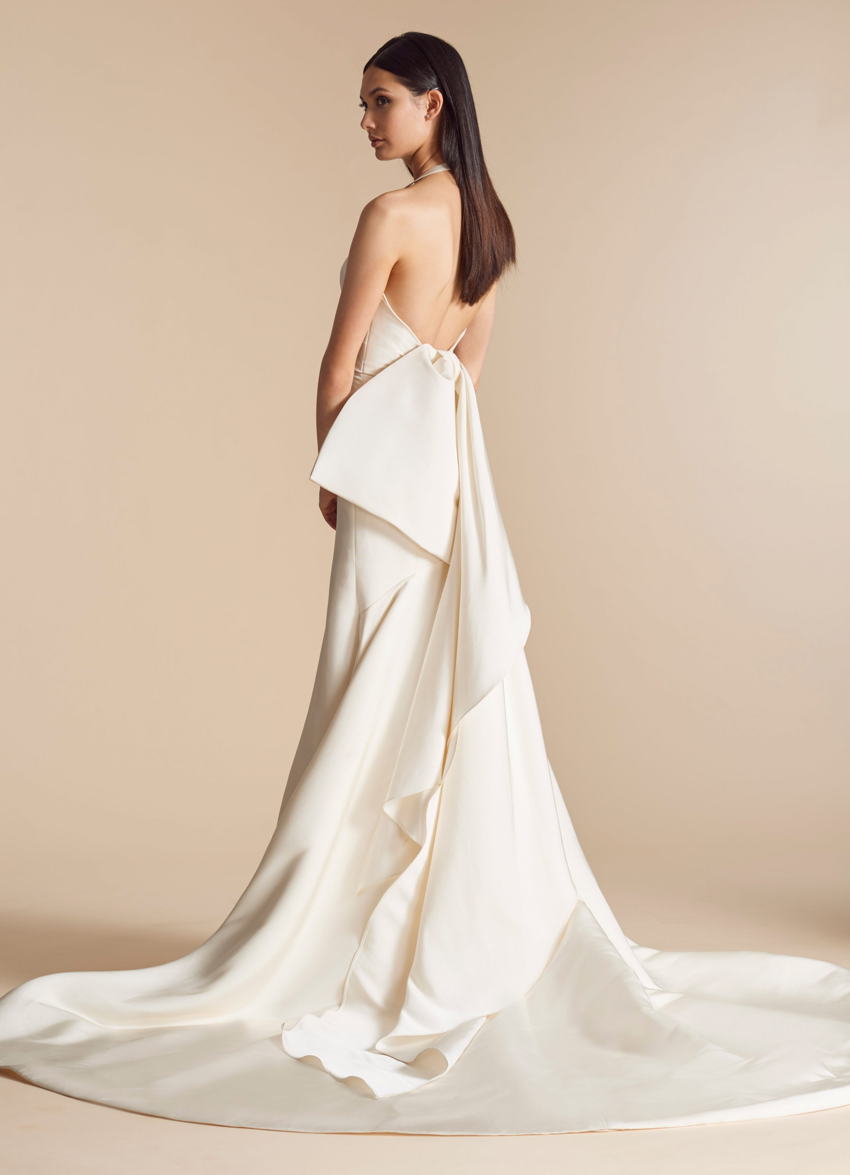 Silk Fit And Flare Wedding Dress With Halter And Detachable Bow Back ...