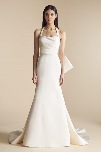 Silk Fit And Flare Wedding Dress With Halter Detachable Bow Back By Allison Webb