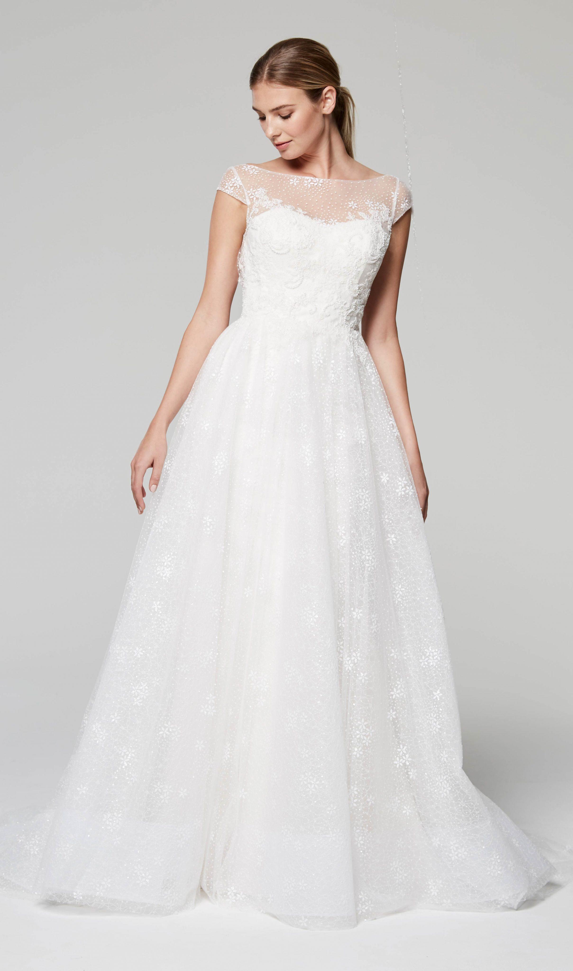 d166378a Illusion Neckline Cap Sleeve Lace Wedding Dress | Kleinfeld Bridal