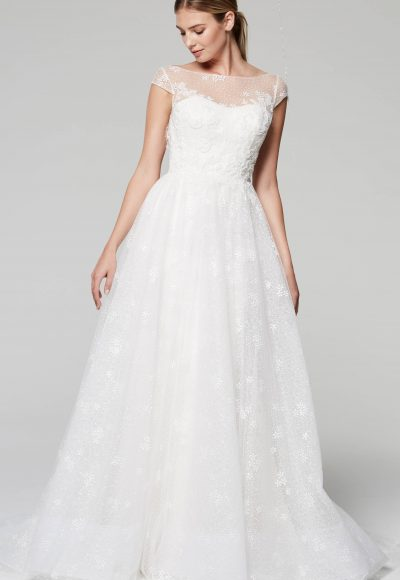 Illusion Neckline Cap Sleeve Lace Wedding Dress by Anne Barge