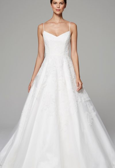 Spaghetti Strap A-line V-neck Wedding Dress by Anne Barge