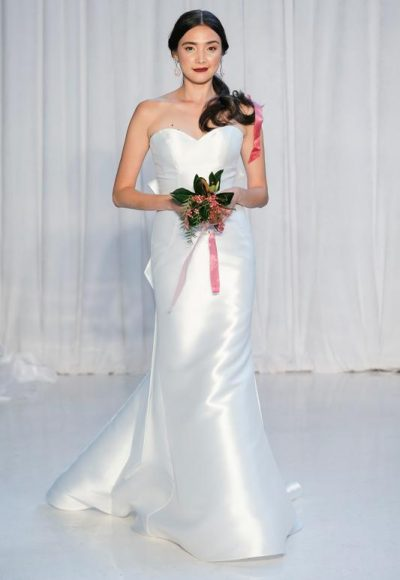 Sweetheart Neckline Satin Fit And Flare Wedding Dress by Anne Barge
