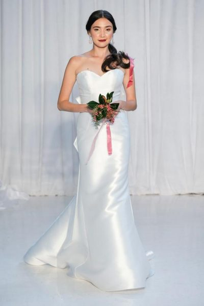 Sweetheart Neckline Satin Fit And Flare Wedding Dress by Anne Barge - Image 1
