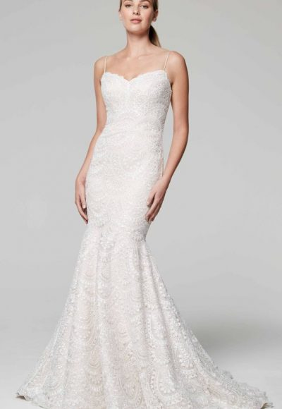 Sweetheart Neckline Spaghetti Strap Beaded Wedding Dress by Anne Barge