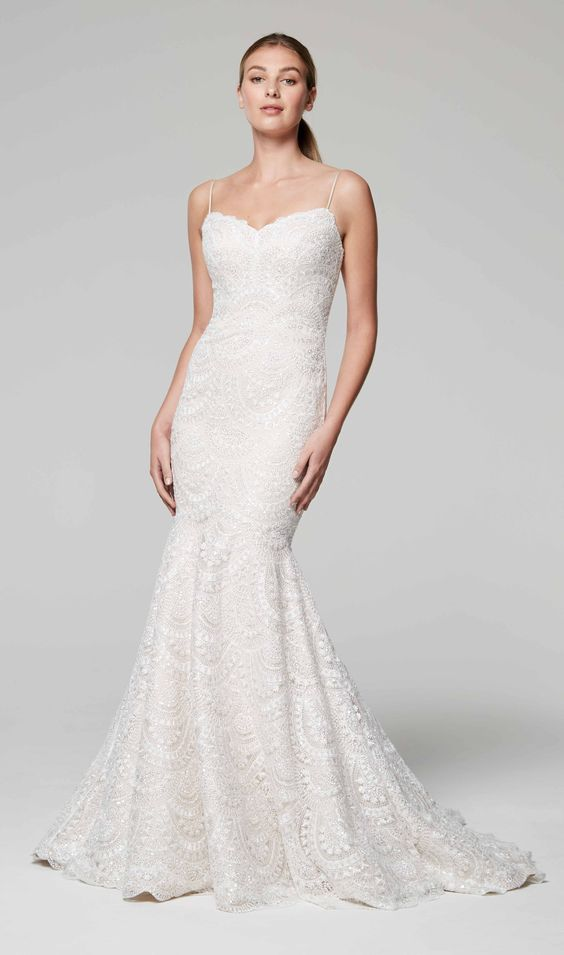 Sweetheart Neckline Spaghetti Strap Beaded Wedding Dress