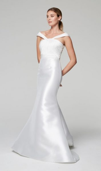 Unique Neckline Silk Mermaid Wedding Dress | Kleinfeld Bridal