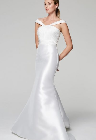 Unique Neckline Silk Mermaid Wedding Dress by Anne Barge