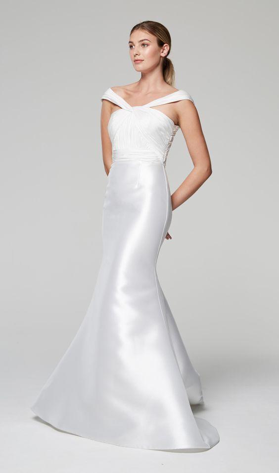 Unique Neckline Silk Mermaid Wedding Dress | Kleinfeld Bridal