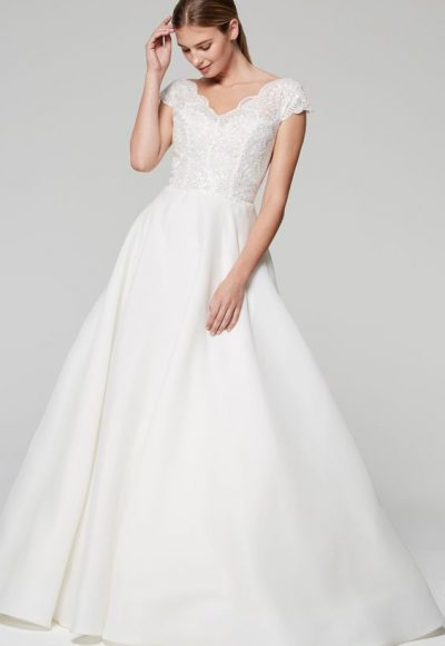 V-neck Cap Sleeve Full Skirt Wedding Dress by Anne Barge
