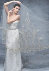 V-neck Sleeveless Lace Bodice Wedding Dress by Anne Barge - Image 1