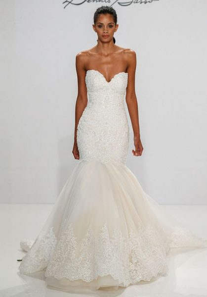 Beaded Lace And Tulle Fit And Flare Wedding Dress by Dennis Basso - Image 1