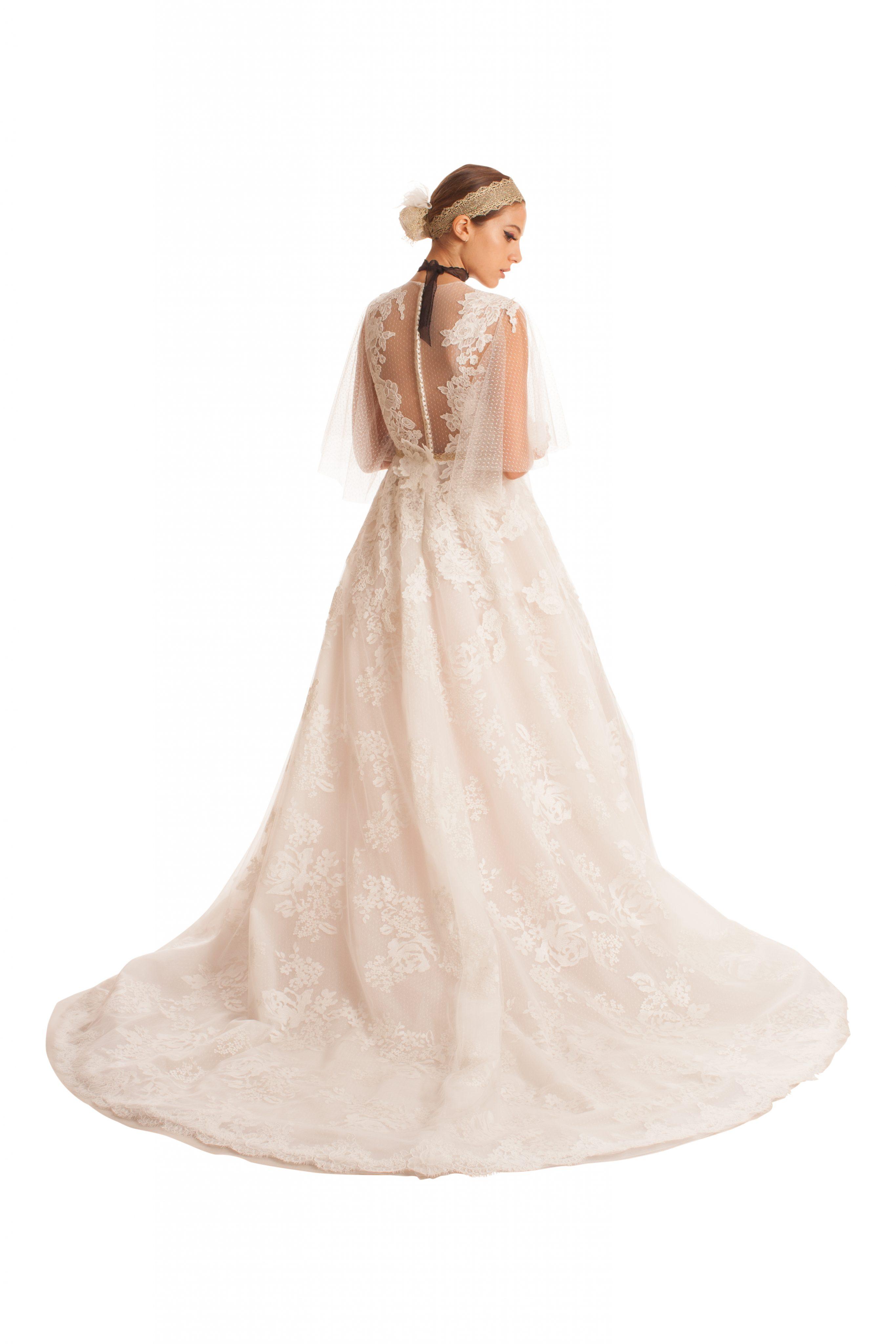 Sheer 3/4 Sleeved Tulle Wedding Dress   Kleinfeld Bridal