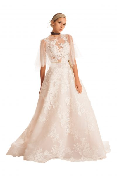 Sheer 3/4 Sleeved Tulle Wedding Dress by Edgardo Bonilla - Image 1