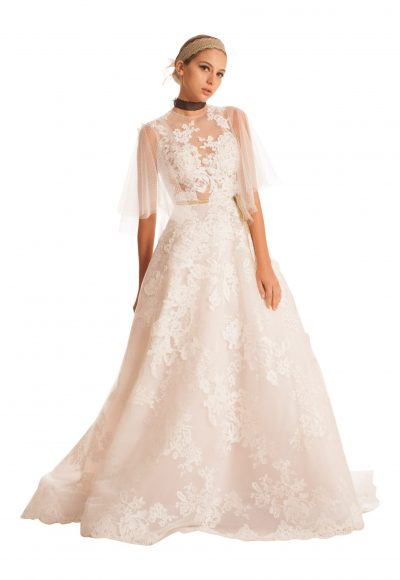 Sheer 3/4 Sleeved Tulle Wedding Dress by Edgardo Bonilla