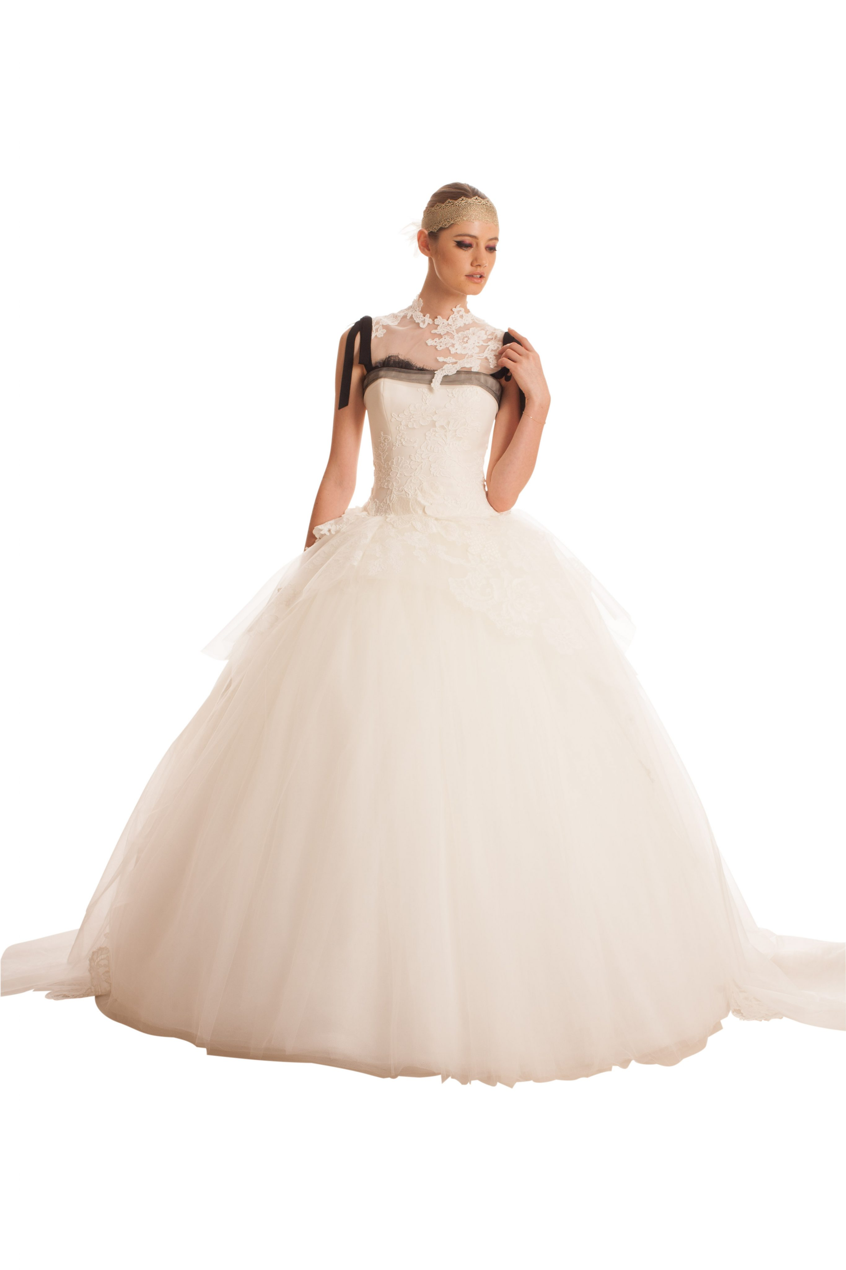 Tulle Ball Gown Wedding Dress With Embroidered Flowers And Peplum ...
