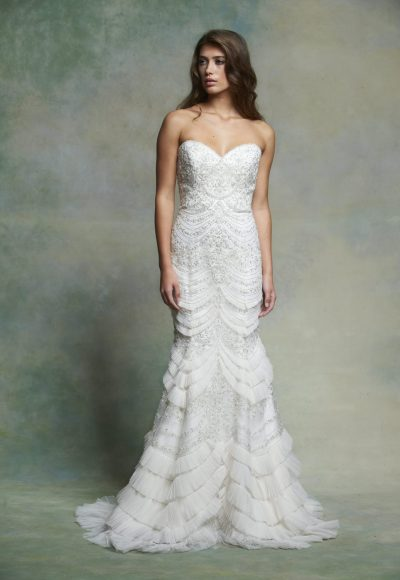 Beaded Sweetheart Neck Fit And Flare Wedding Dress by Enaura Bridal
