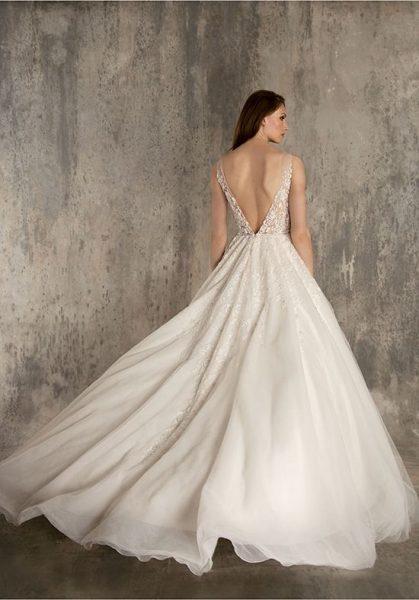 Embellished Lace And Tulle V-neck A-line Wedding Dress by Enaura Bridal - Image 2