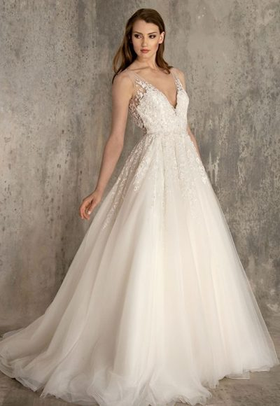 Embellished Lace And Tulle V-neck A-line Wedding Dress by Enaura Bridal