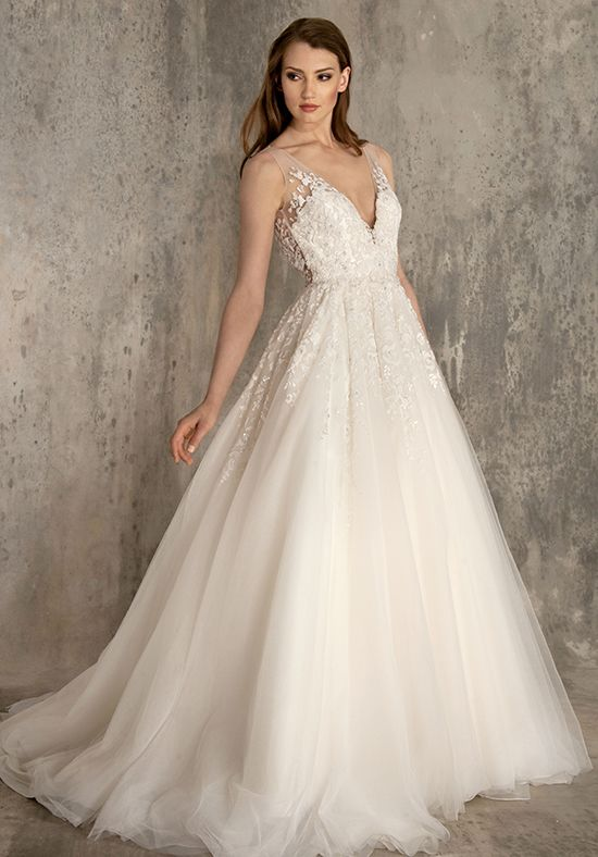 a line lace wedding dress embellished lace and tulle v neck a line wedding dress 1195