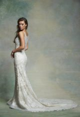 Sleeveless V-neck Beaded And Embroidered Fit And Flare Wedding Dress by Enaura Bridal - Image 2
