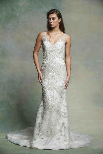 Sleeveless V-neck Beaded And Embroidered Fit And Flare Wedding Dress by Enaura Bridal - Image 1
