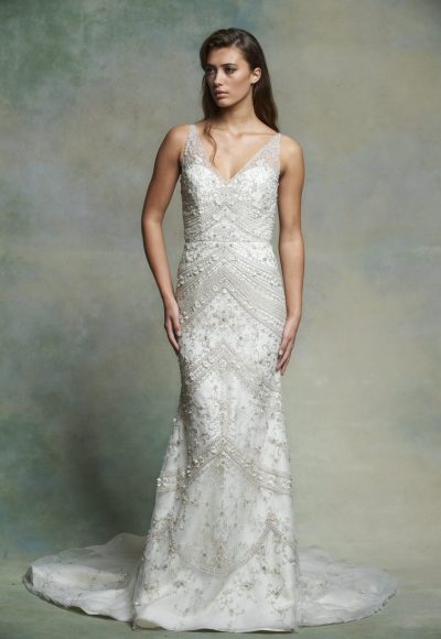 Sleeveless V-neck Beaded And Embroidered Fit And Flare Wedding Dress by Enaura Bridal