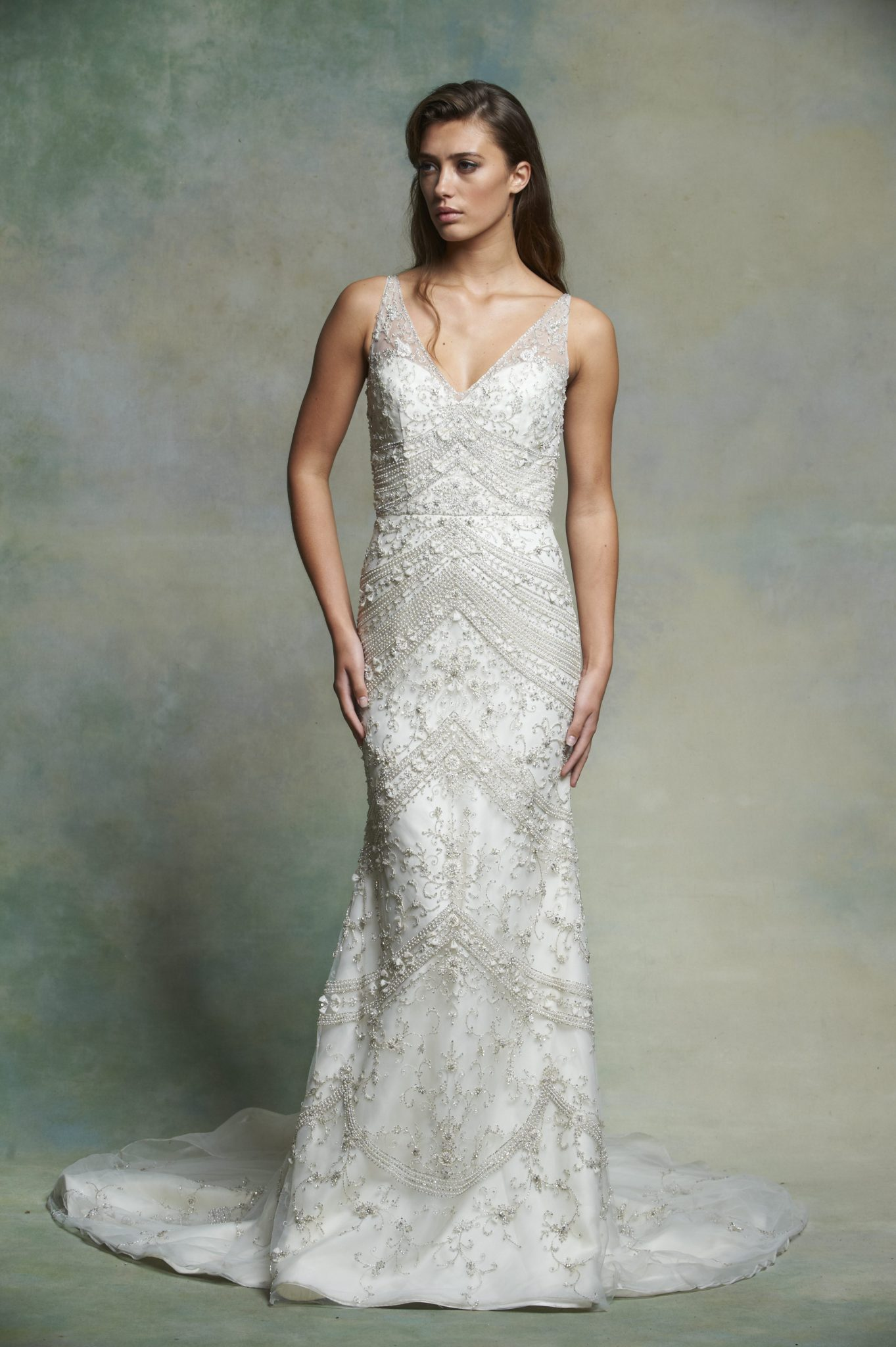 Sleeveless V-neck Beaded And Embroidered Fit And Flare Wedding Dress ...
