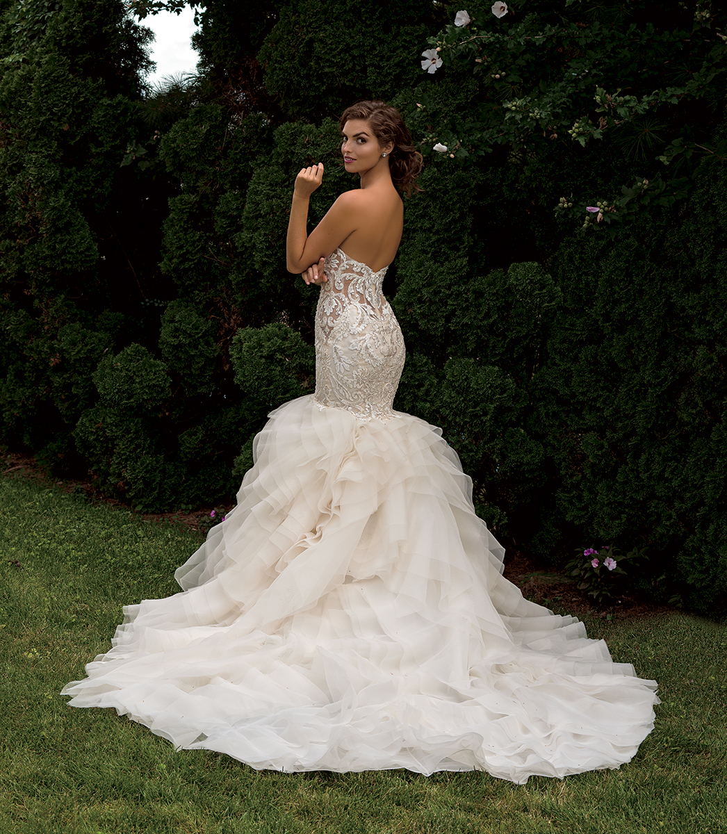 Beaded Bodice Sweetheart Neck Fit And Flare Wedding Dress