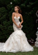 Beaded Bodice Sweetheart Neck Fit And Flare Wedding Dress by Eve of Milady - Image 1