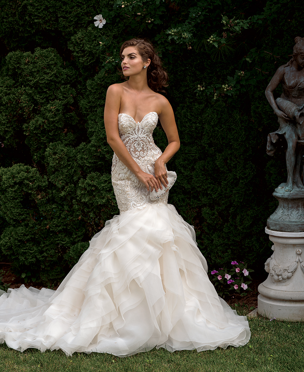 Beaded Bodice Sweetheart Neck Fit And Flare Wedding Dress ...