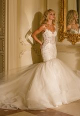 Beaded Bodice Sweetheart Neck Full Skirt Fit And Flare Wedding Dress by Eve of Milady - Image 1