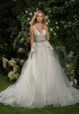 Beaded Lace V-neck Bodice A-line Wedding Dress by Eve of Milady - Image 1
