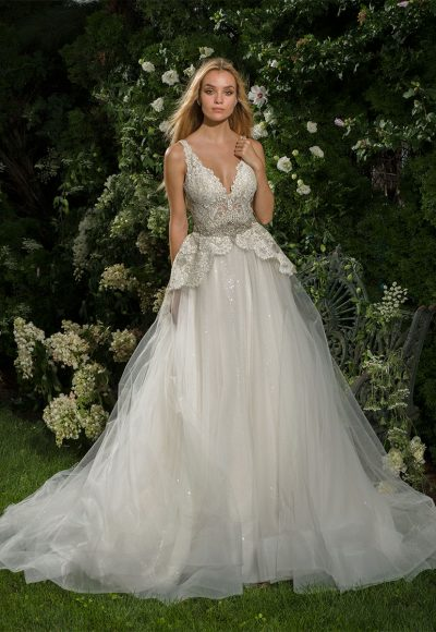Beaded Lace V-neck Bodice A-line Wedding Dress by Eve of Milady