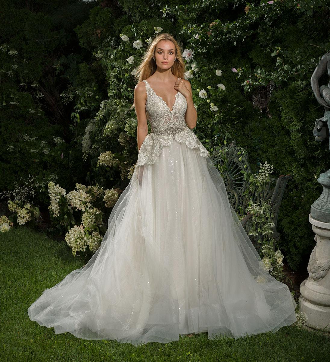 Beaded Lace V-neck Bodice A-line Wedding Dress