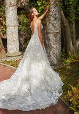 Beaded Lace V-neck Flower Appliqué A-Line Wedding Dress by Eve of Milady - Image 2
