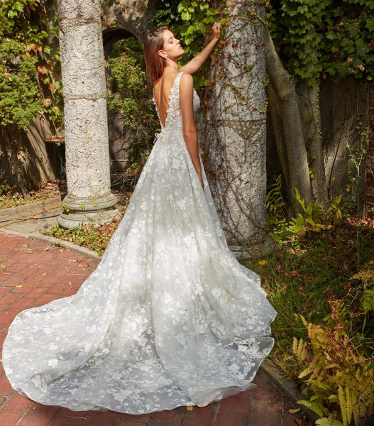 Beaded Lace V-neck Flower Applique Fit And Flare Wedding Dress by Eve of Milady - Image 2