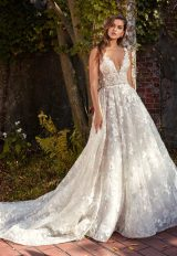 Beaded Lace V-neck Flower Applique Fit And Flare Wedding Dress by Eve of Milady - Image 1