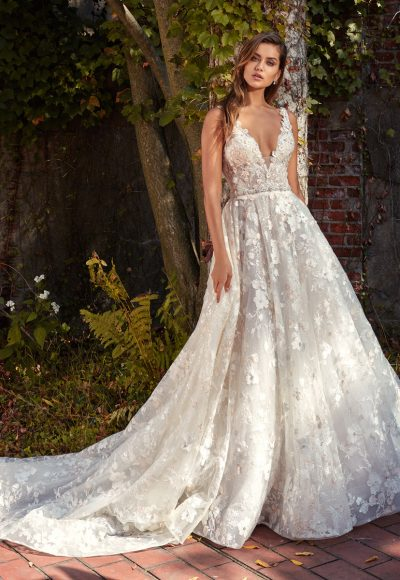 Beaded Lace V-neck Flower Appliqué A-Line Wedding Dress by Eve of Milady