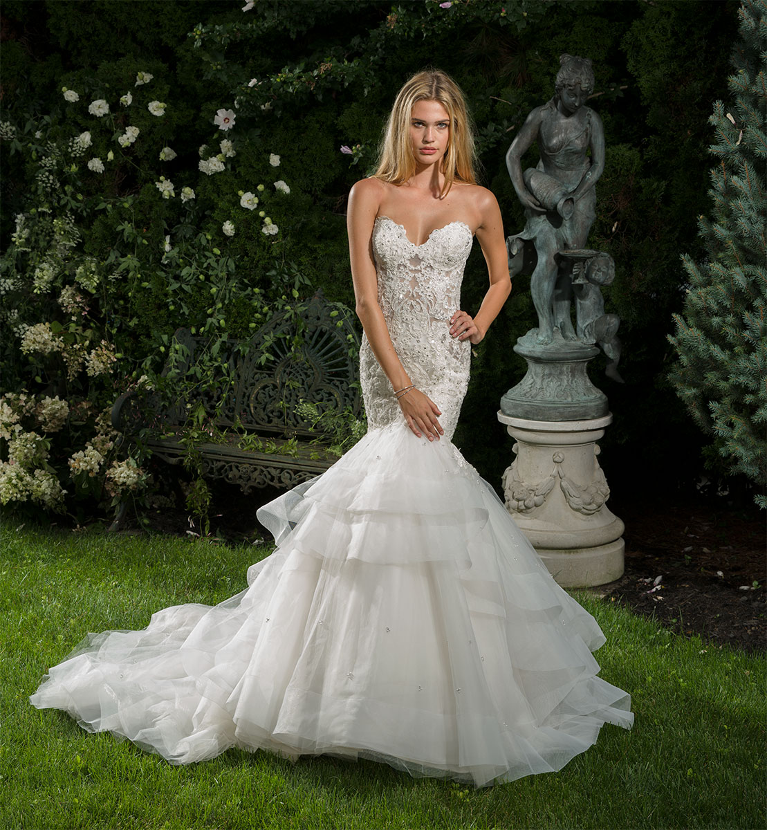 Beaded Sweetheart Neck Sheer Bodice Fit And Flare Wedding Dress ...