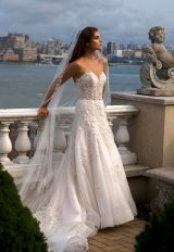 Beaded Swetheart Neckline A-line Wedding Dress by Eve of Milady - Image 1