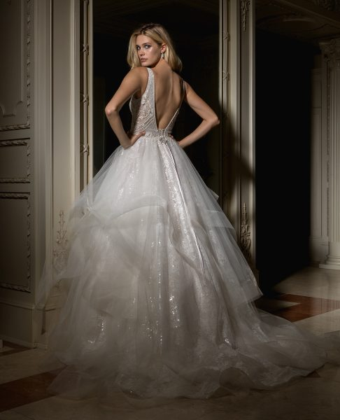 Beaded V-neck Bodice With Ball Gown Skirt Wedding Dress by Eve of Milady - Image 2