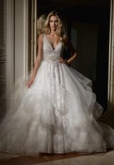 Beaded V-neck Bodice With Ball Gown Skirt Wedding Dress by Eve of Milady - Image 1