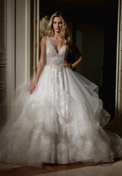 Beaded V-neck Bodice With Ball Gown Skirt Wedding Dress by Eve of Milady