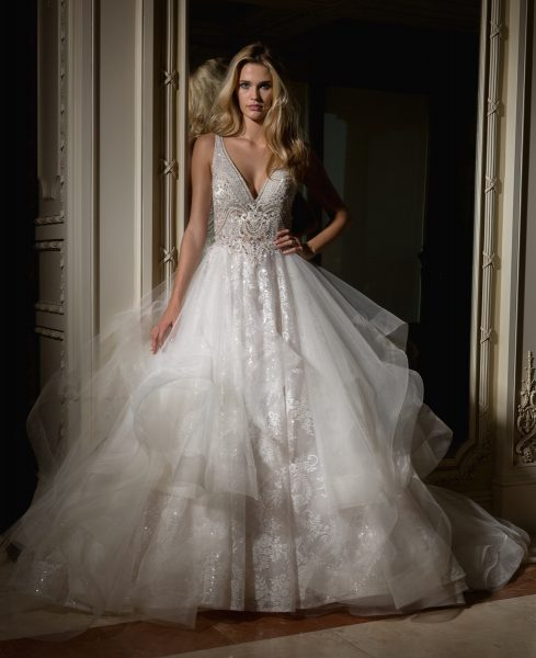 Beaded V-neck Bodice With Ball Gown Skirt Wedding Dress | Kleinfeld ...