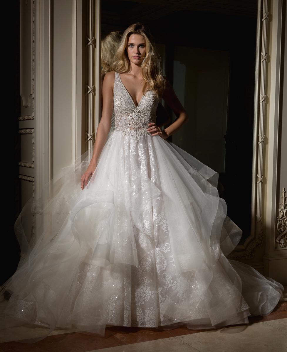 Beaded V-neck Bodice With Ball Gown Skirt Wedding Dress