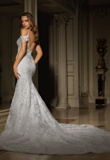 Deep Sweetheart Neckline Beaded Lace Fit And Flare Wedding Dress by Eve of Milady - Image 2