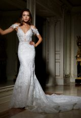 Deep Sweetheart Neckline Beaded Lace Fit And Flare Wedding Dress by Eve of Milady - Image 1